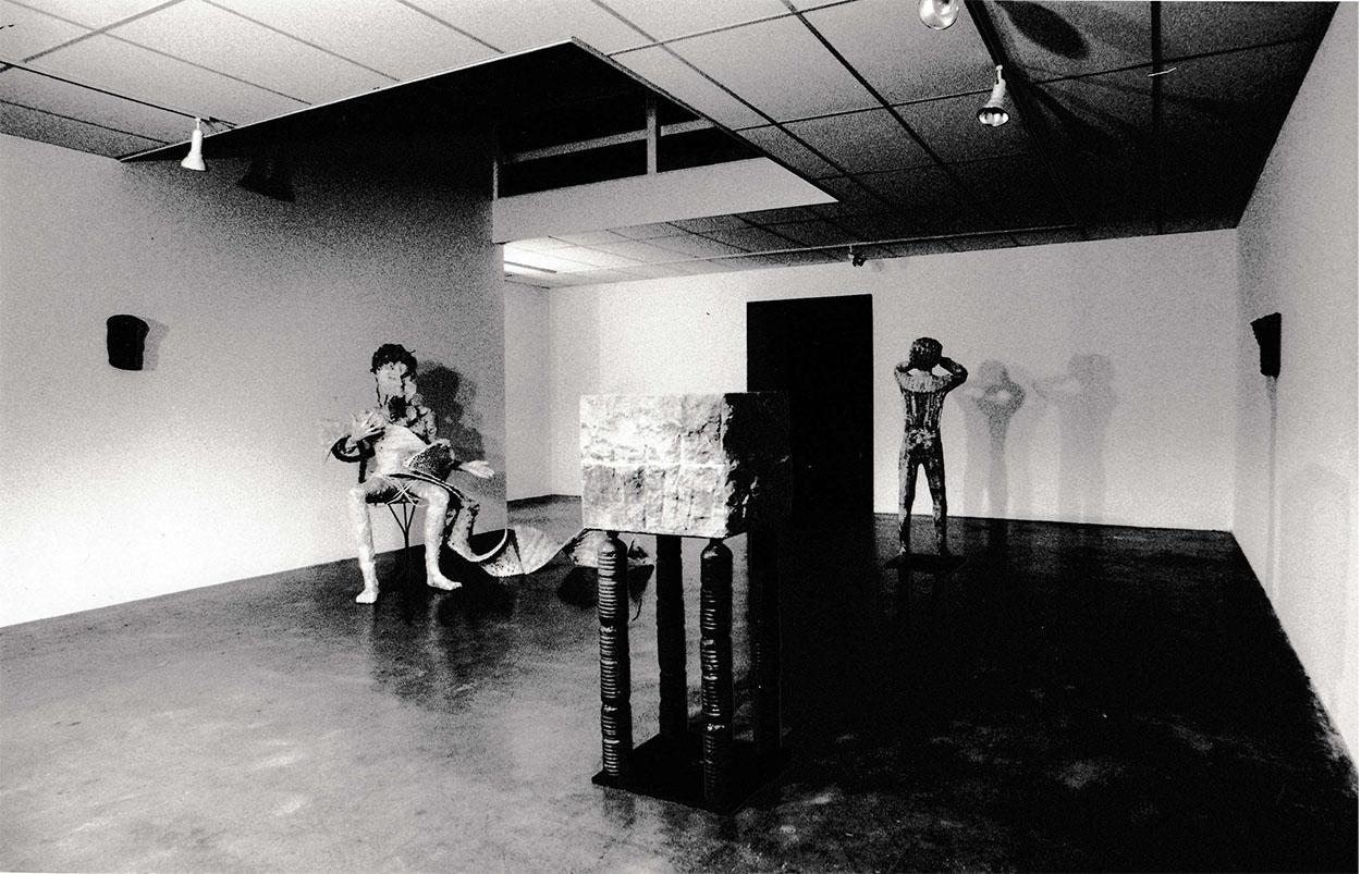 Toni Warburton Artist. Art Exhibition, (Tableau) Transactions, Mori Gallery, Leichardt Sydney, 1990