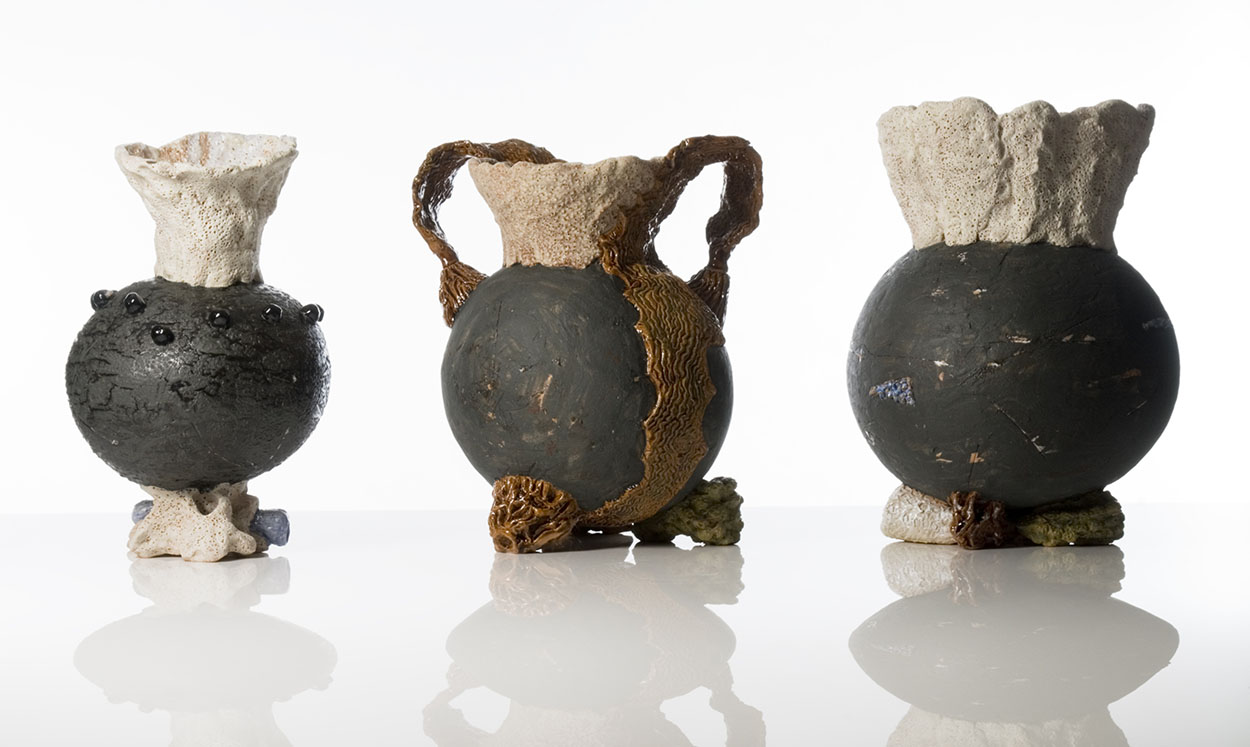 Toni Warburton, Artist. Ceramic Artworks, Vases for Sea Water (Triptych) 2009